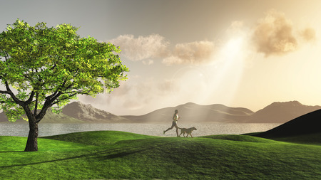 keep fit: 3D render of a female figure jogging in the countryside with her dog