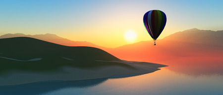 tropical: 3D render of a hot air ballon against a sunset sky and island