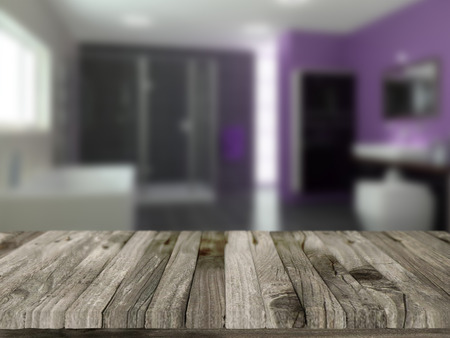 defocussed: 3D render of a wooden table with a defocussed bathroom in the background