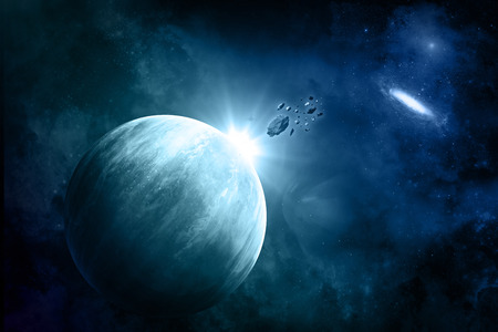 fictional: Space background with fictional planets , nebula and meteorites Stock Photo