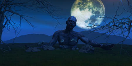 undead: 3D render of a scary zombie coming out of the ground on a moonlit night Stock Photo