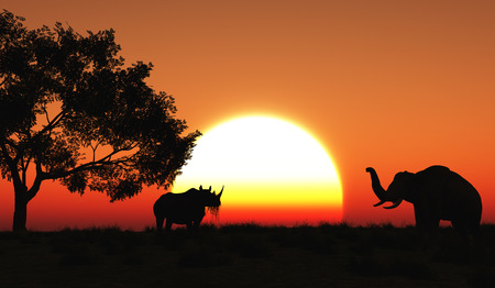 morning sunrise: 3D render of a rhino and elephant in an African landscape Stock Photo