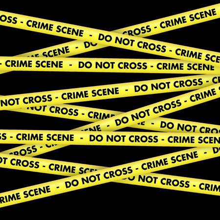 crime scene: Background with lengths of yellow tape with crime scene do not cross wording