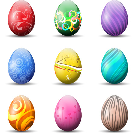 vector eggs: Collection of different coloured decorative Easter eggs