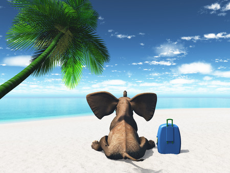 comedic: 3D render of an elephant sat on a beach with suitcase