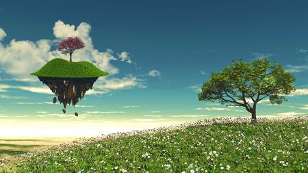 isla flotante: 3D rinden de una isla flotante con un paisaje de �rboles