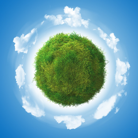 grassy: 3D render of a grassy globe with clover and clouds Stock Photo