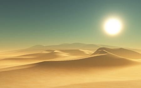 desert oasis: 3D render of a desert scene Stock Photo