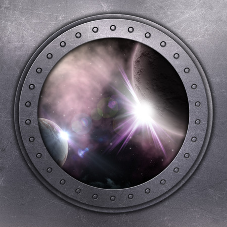 window hole: 3D render of a port hole looking out onto space