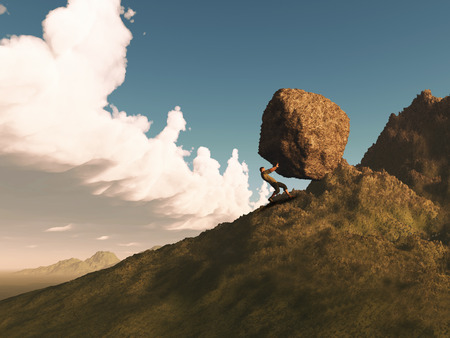 3D render of a male figure pushing a huge rock up a mountain