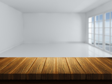 bar top: 3D render of a wooden table with a defocussed empty room in the background