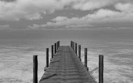 jetty: 3D render of a black and white image of a jetty going into the sea