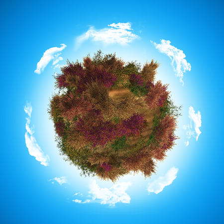 heather: 3D render of a globe with heather and fern Stock Photo