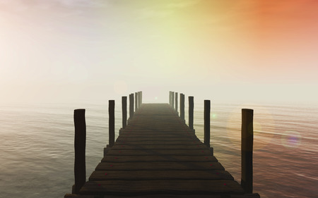 jetty: 3D render of a jetty against a sunset sky