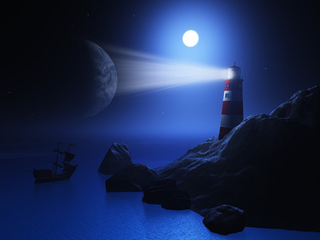 lightbeam: 3D render of a lighthouse with a ship on the ocean