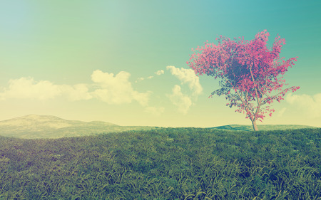 grassy: 3D render of a maple tree in a grassy landscape with vintage effect