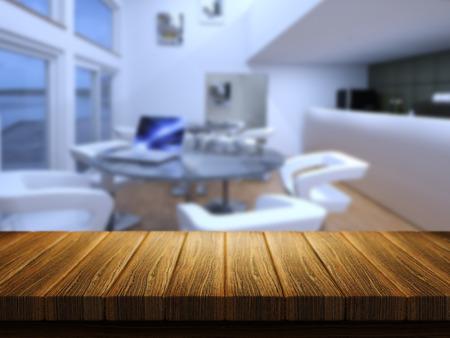cafe bar: 3D render van een houten tafel met een defocussed cafe-bar op de achtergrond Stockfoto