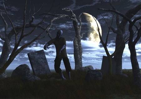 haunting: 3D render of a zombie in a graveyard at night Stock Photo