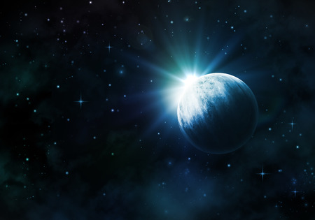 fictional: Night sky background with fictional planet, nebula and stars