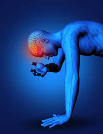 male figure: 3D render of male figure with brain highlighted as if in pain