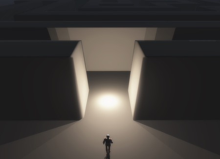 deciding: 3D render of a male figure stood in front of a maze