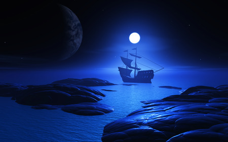 3d sail boat: 3D render of a ship on a moonlit ocean with a planet in the sky Stock Photo