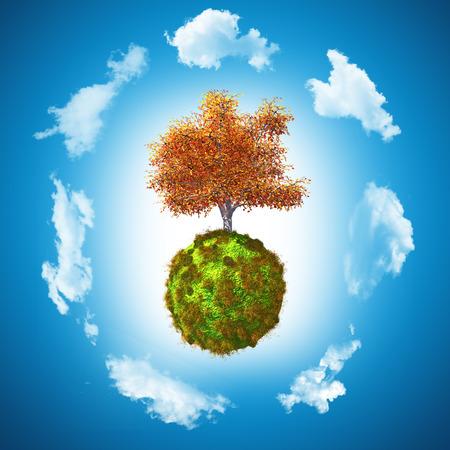 grassy: 3D render of a walnut tree on a grassy globe