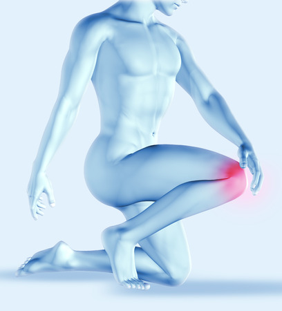 vitals: 3D render of a male figure holding his knee in pain Stock Photo