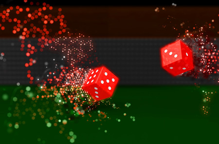 3D render of rolling dice with bokeh light effect