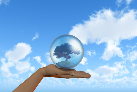 hands holding earth: 3D render of a female hand holding a tree in a globe against a blue sky background