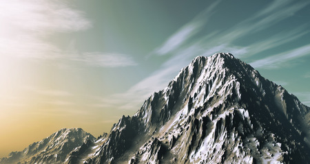 snowy mountain: 3D render of a snowy mountain Stock Photo