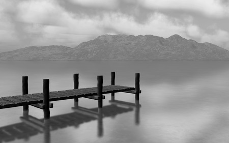 jetty: 3D render of a black and white landscapw with jetty Stock Photo