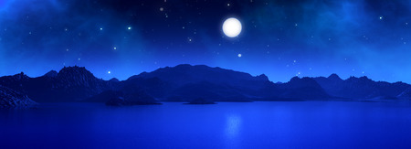 surreal landscape: 3D widescreen render of a surreal landscape with moon at night