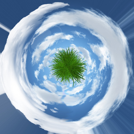 grassy: Abstract grassy globe with swirled couds Stock Photo