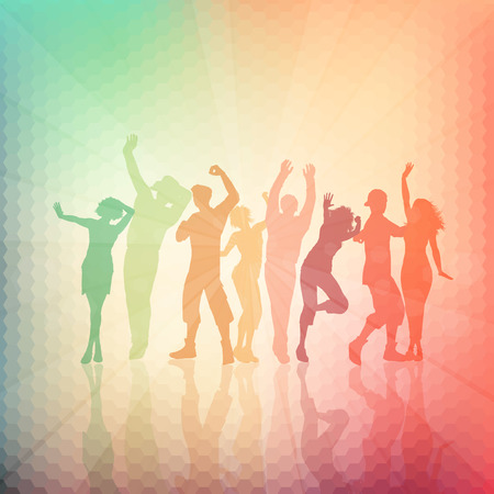 youngsters: Silhouettes of people dancingn on an abstract background