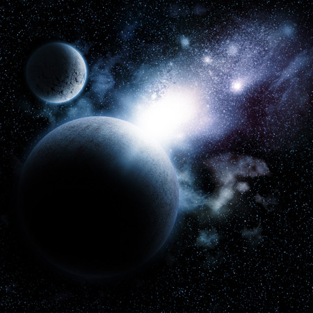 fictional: Space background with nebula and fictional planets