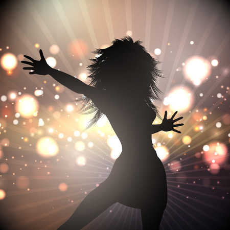 Silhouette of a female dancing on an abstract lights