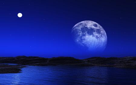 alien landscape: Paesaggio straniero 3D con la luna