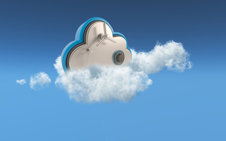 secure data: 3D conceptual image of security in cloud storage