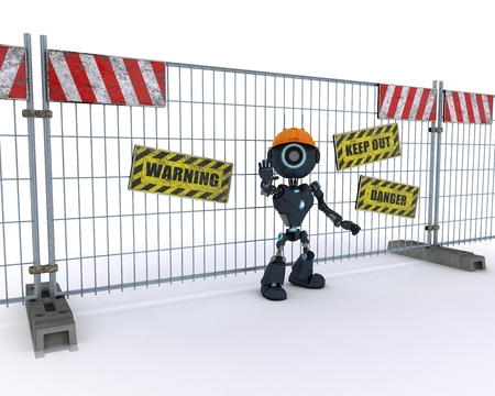 costruction: 3D Render of an robot builder at costruction site Stock Photo