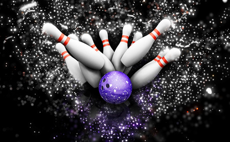 bowling strike: 3D render of bowling skittles with a sparkle effect