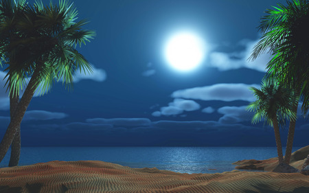 moonlit: 3D render of a palm tree island against a moonlit sky
