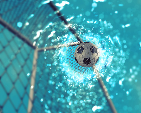 football net: 3D render of a football going into the net with sparkle effect