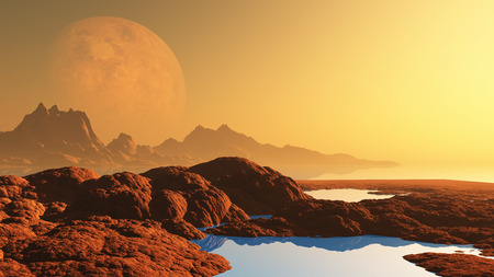 alien landscape: 3D render of a surreal alien landscape with planet