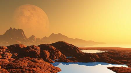 alien landscape: 3D rendering di un paesaggio alieno surreale con il pianeta