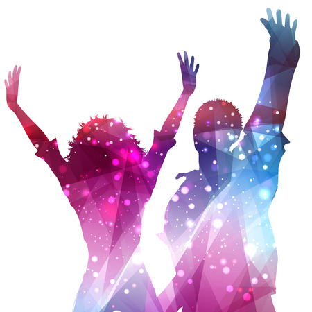 party silhouettes: Silhouettes of party people on an abstract background