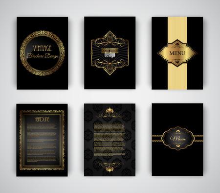 oro: Colecci�n de oro y un folleto y negro plantillas de men� Foto de archivo