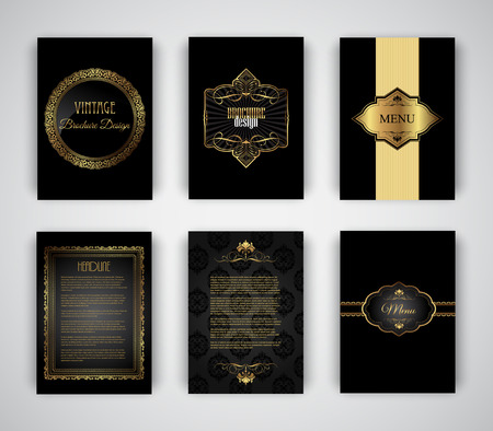 Collection of gold and black brochure and menu templates Stock Photo