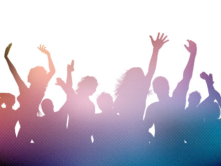 dancing silhouettes: Silhouette of a party crowd Stock Photo