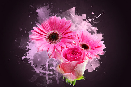 gerbera: Grunge style abstract background of Gerbera daisies and rose Stock Photo